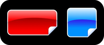 Stickers. Blue and red glossy sticker Royalty Free Stock Photos