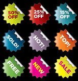 Stickers. Vector starburst stickers for retail and other use Stock Image