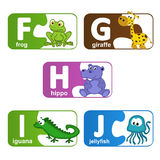 Stickers alphabet animals from F to J. Vector illustration, eps stock illustration