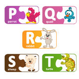 Stickers alphabet animals from P to T. Vector illustration, eps vector illustration
