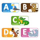 Stickers alphabet animals from A to E. Vector illustration, eps vector illustration