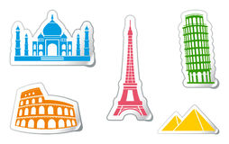 Stickers of architectural monuments Royalty Free Stock Image