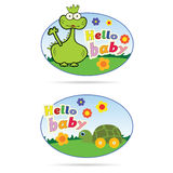 Stickers for babies with dino and turtle illustration Stock Photo