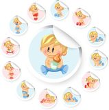 Stickers with baby boys and baby girls,vector Royalty Free Stock Photos