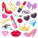 Stickers badges pack for girls. Stock Image