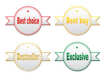 Stickers - best choice, best buy, bestseller, exclusive Royalty Free Stock Photography
