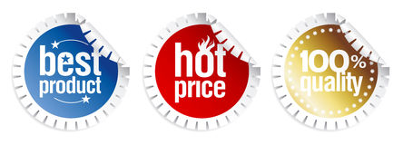 Stickers for best product sales Royalty Free Stock Images