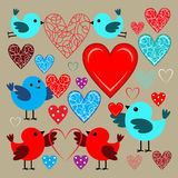 Stickers with birds and hearts Royalty Free Stock Images