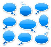 Stickers of blue glossy comics text bubbles. With shadow Stock Image