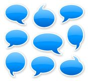 Stickers of blue glossy rounded comics text bubbles. With shadow Stock Photo