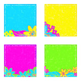 Stickers in bright neon colors with floral notes Royalty Free Stock Image