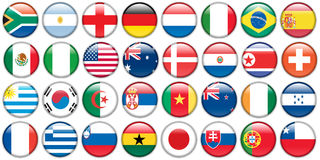 Stickers buttons of national flags. In oval shape stock illustration