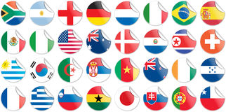 Stickers buttons of national flags of countries. Participating in world cup 2010 in circular shape royalty free illustration