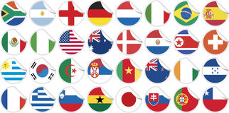 Stickers buttons of national flags of countries. Participating in world cup 2010 in circular shape vector illustration