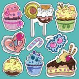 stickers of cakes and sweets Stock Photo