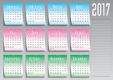 2017 stickers calendar in english. 2017 paper reminder stickers calendar in english Royalty Free Stock Images