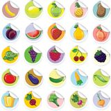 Stickers with cartoon fruits and vegetables,vector Stock Photos