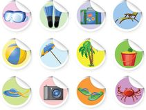Stickers with cartoon travel icons,vector Stock Photo