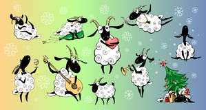 Funny cartoons vector goats. Stickers with charming lambs spending time for their favorite hobby royalty free illustration