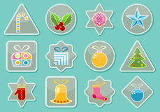 Stickers With Christmas Items Royalty Free Stock Image