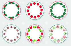 Stickers With Christmas Wreaths Stock Image