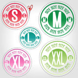 5 stickers clothing sizes Stock Image