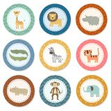 Stickers collection with cute safari animals Stock Photography