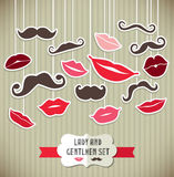 Stickers collection of moustaches and lips. Vector illustration Royalty Free Stock Images