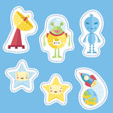 Stickers Collection with Space Cartoons Royalty Free Stock Photography