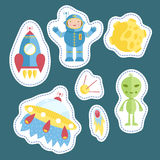 Stickers Collection with Space Cartoons Royalty Free Stock Photos