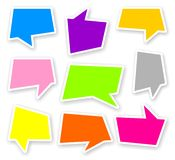 Stickers of color comics text bubbles. With shadow Royalty Free Stock Photos