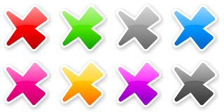 Stickers of color glossy check marks. With light shadow Stock Photos