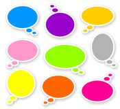 Stickers of color rounded comics text bubbles. With shadow Royalty Free Stock Image