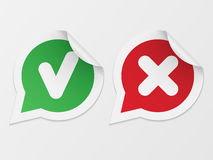 Stickers with consent and denial Royalty Free Stock Images