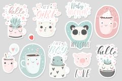 12 stickers with cute animals, cups and plants with hand drawn lettering. Vector pins design Stock Photos