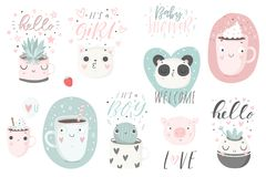 12 stickers with cute animals, cups and plants with hand drawn lettering. Vector pins design Royalty Free Stock Photography
