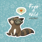 Stickers with a cute raccoon Stock Photography