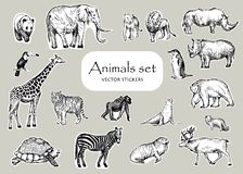 Stickers design set.Vector pen style drawing. Different animals. royalty free illustration