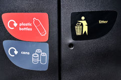 Stickers on a dumpster for separate waste collection Royalty Free Stock Photo