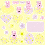 Stickers for Easter. With rabbits Stock Image
