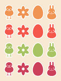 Stickers with Easter symbols Stock Photography