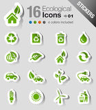 Stickers - Ecological Icons. 16 ecological and recycling internet icons set Royalty Free Stock Photography