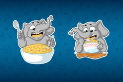 Stickers elephant. He eats porridge with a spoon. Big set of stickers in English and Russian languages. Vector, cartoon Stock Photography
