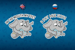 Stickers elephant. Put my paw in my mouth. Saying. Big set of stickers in English and Russian languages. Vector, cartoon Royalty Free Stock Photo