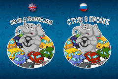 Stickers elephant. Standing in a traffic jam. A lot of cars. Royalty Free Stock Photos