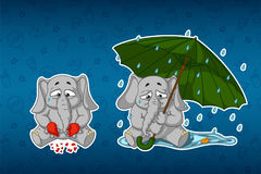Stickers elephants. Broken heart, sadness, longing. Sits under the umbrella. Elephant cute Nick. Big set of stickers in English and Russian languages. Vector royalty free illustration