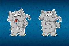 Stickers elephants. Dislike, like. Big set of stickers. Vector, cartoon. Elephant cute Nick. Stickers elephants. Dislike, like. Big set of stickers. Vector Stock Image