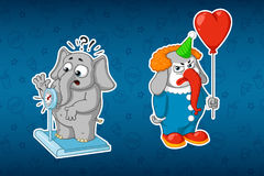 Stickers elephants. Elephant on the scales. Clown with balloon. Big set of stickers. Vector, cartoon. Stock Photos