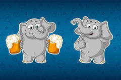 Stickers elephants. He holds mugs of beer and offers to drink. He raised his finger up, like.Big set of stickers. Vector, cartoon. Elephant cute Nick. Stickers Royalty Free Stock Images