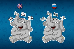 Stickers elephants. Laughs holding her stomach. Big set of stickers in English and Russian languages. Vector, cartoon Royalty Free Stock Photo